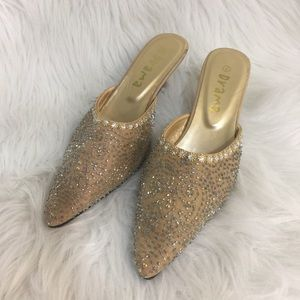 Drama Sequin Mules with kitten heels